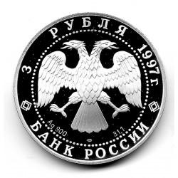 Moneda de Rusia 3 Rublos Año 1997 Rothbart y el príncipe Siegfried Plata Proof PP