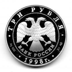 Münze 3 Rubel Russland Jahr 1998 Erzengel Silber Proof PP