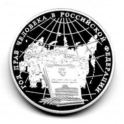 Moneda 3 Rublos Rusia Año 1998 Derechos Humanos Plata Proof PP