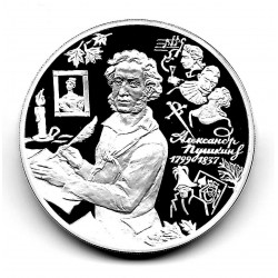 Coin 3 Rubles Russia Year 1999 Alexander Pushkin Silver Proof PP