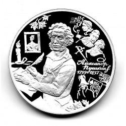 Münze 3 Rubel Russland Jahr 1999 Alexander Puschkin Silber Proof PP