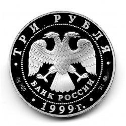 Moneda 3 Rublos Rusia Año 1999 Alexander Pushkin Plata Proof PP