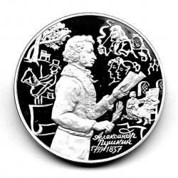 Moneda 3 Rublos Rusia Año 1999 Alexander Pushkin Derecha Plata Proof PP