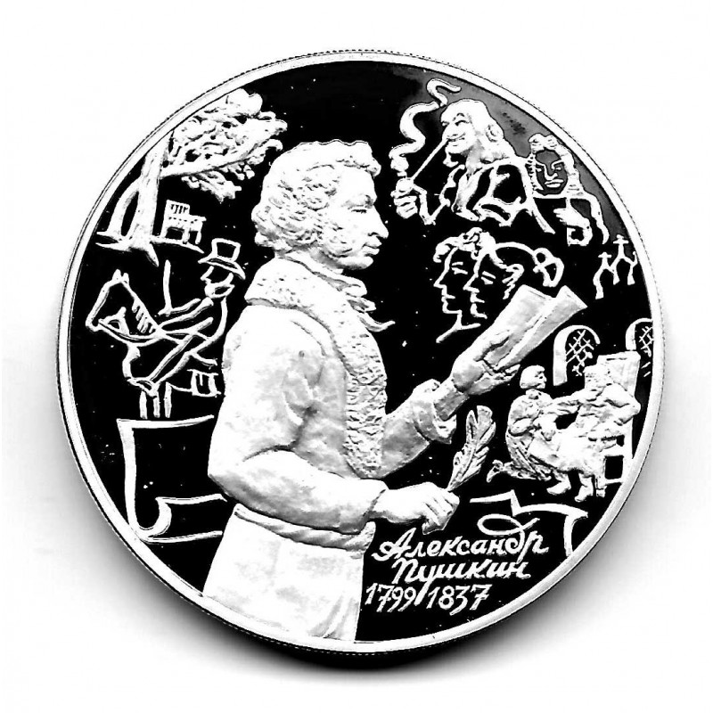 Coin 3 Rubles Russia Year 1999 Alexander Pushkin Right Silver Proof PP