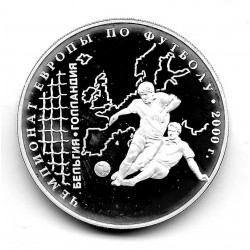 Coin 3 Rubles Russia Year 2000 Europe Football Championship Silver Proof PP