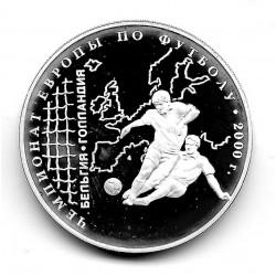 Moneda 3 Rublos Rusia Año 2000 Campeonato Europa Fútbol Plata Proof PP
