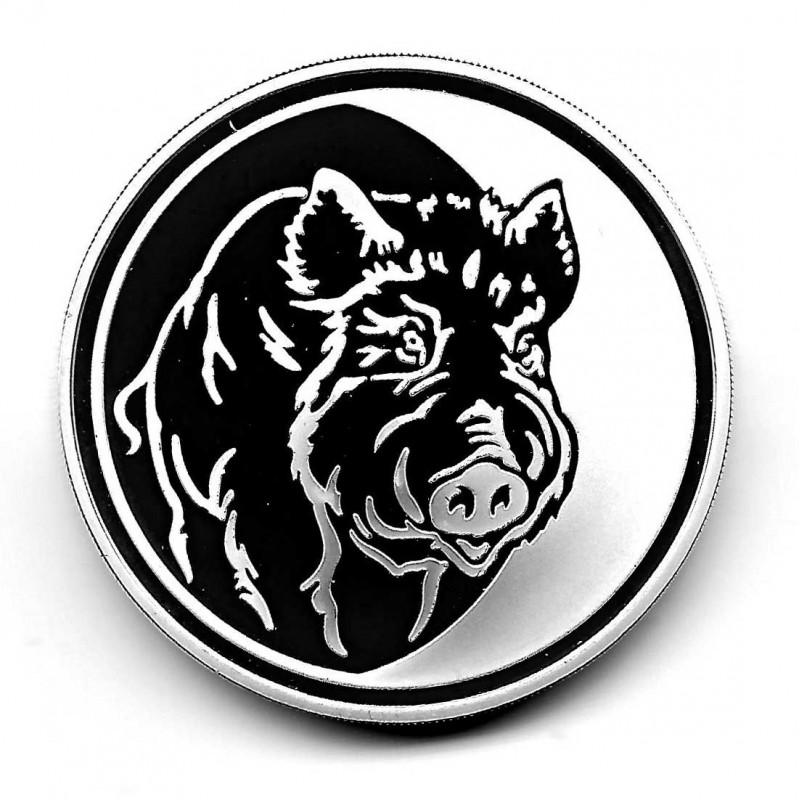 Moneda 3 Rublos Rusia Año 2007 Año del Cerdo Plata Proof PP