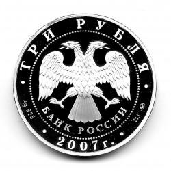 Münze 3 Rubel Russland Jahr 2007 Jahr des Schweines Silber Proof PP