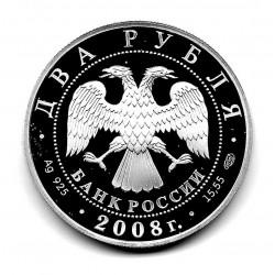 Moneda 3 Rublos Rusia Año 2008 Cumpleaños Landau Plata Proof PP