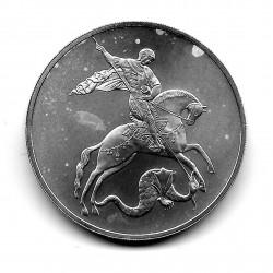 Moneda 3 Rublos Rusia Año 2009 San Jorge Plata Proof PP
