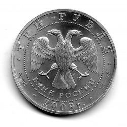 Münze 3 Rubel Russland Jahr 2009 Heiliger Georg Silber Proof PP