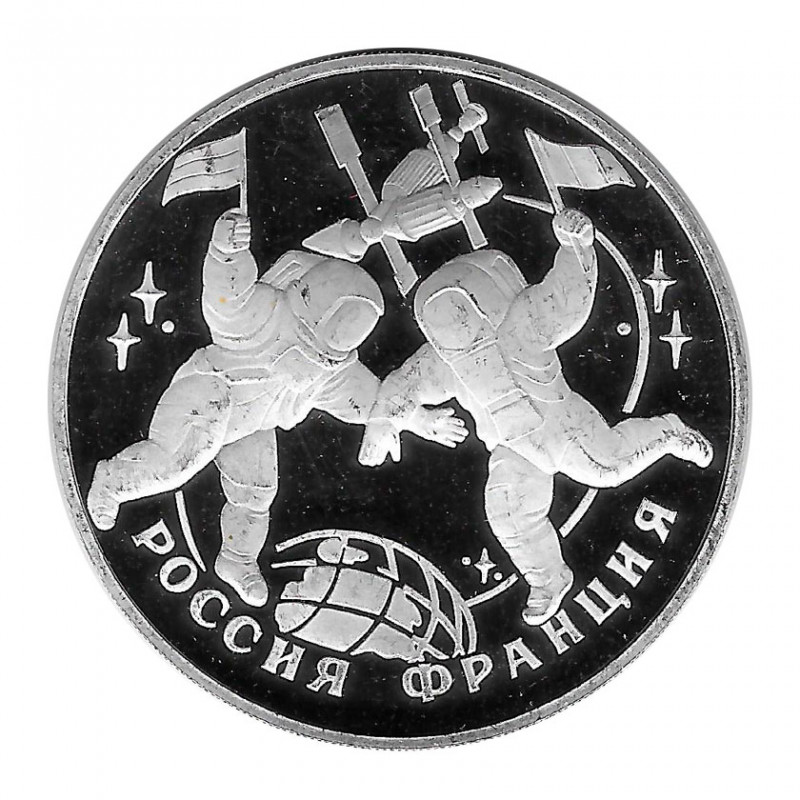 Münze Russland 1993 3 Rubel Weltraumflug Silber Proof PP