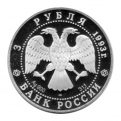 Coin Russia 1993 3 Rubles Weltraumflug Silver Proof PP